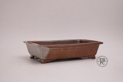 Amdouni Bonsai Pots - 21cm; Rectangle; Shino-like glaze; Shohin;   Rusty brown; White; Sami Amdouni