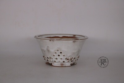 Amdouni Bonsai Pots - 14.1cm; Glazed; Round; White over Browns; Rivets / studs pattern  Sami Amdouni