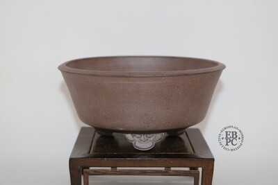 SOLD - Amdouni Bonsai Pots - 15.6cm; Unglazed; Round; Shohin; Great Feet Design;  Sami Amdouni