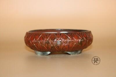 EBL Pots - Porcelain; Shohin; Oval / Round; Vibrant Red & Gunmetal; Carved Decor; Elsebeth Ludvigsen