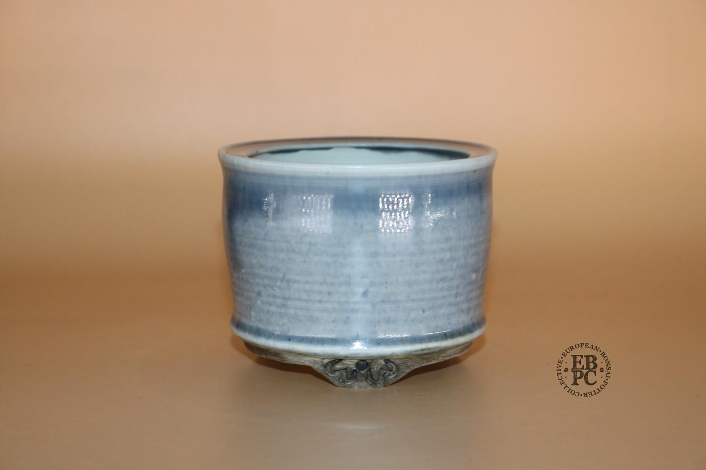 EBL Pots - 8.8cm; Porcelain; Shohin / Accent pot; Round; Stunning Grey Blue; Rim; Basal Band; Detailed Feet; Elsebeth Ludvigsen