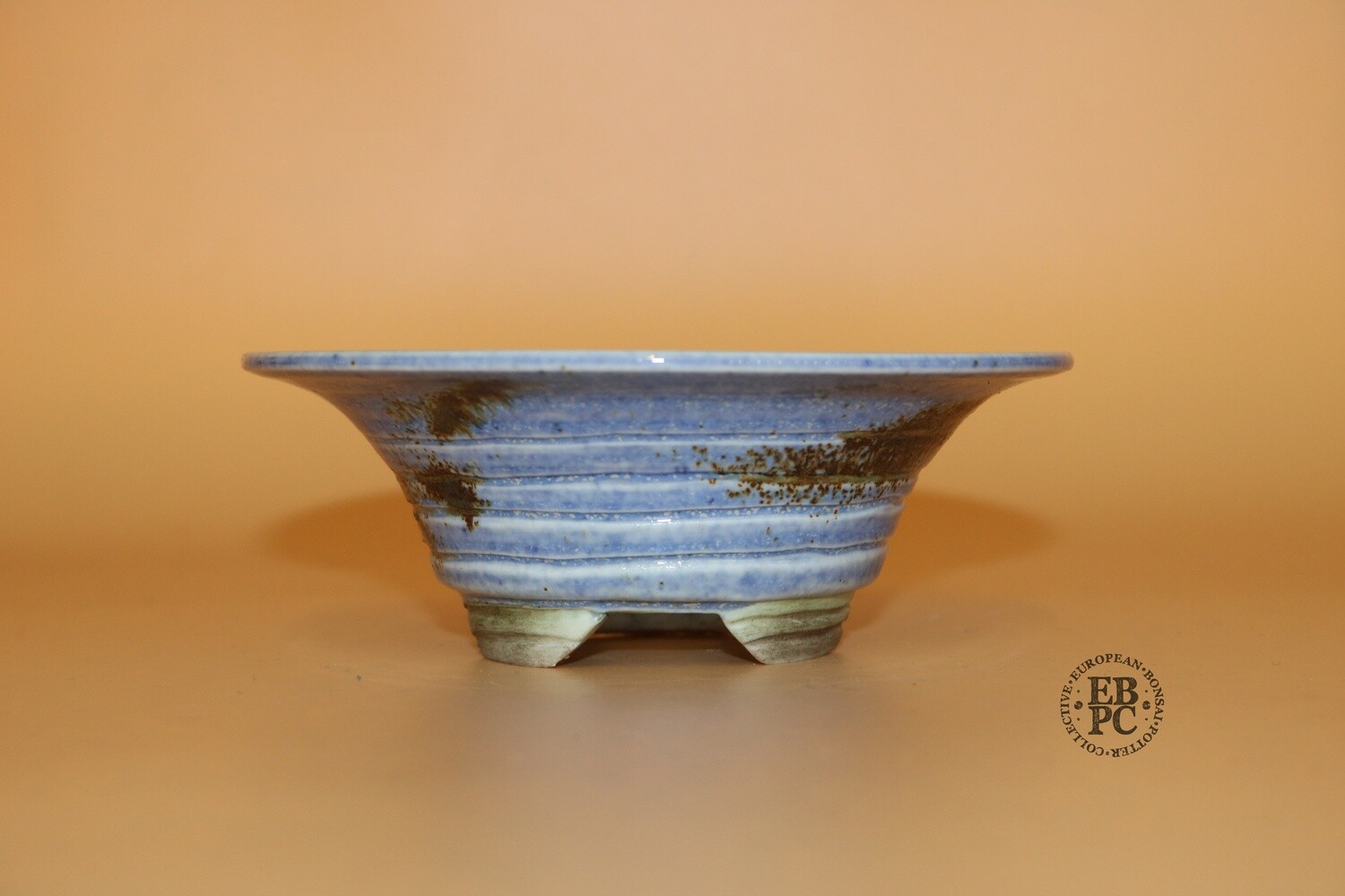 EBL Pots - 12.3cm; Porcelain; Shohin / Accent pot; Round; Blue; Volcanic Sand; Detailed Feet; Elsebeth Ludvigsen
