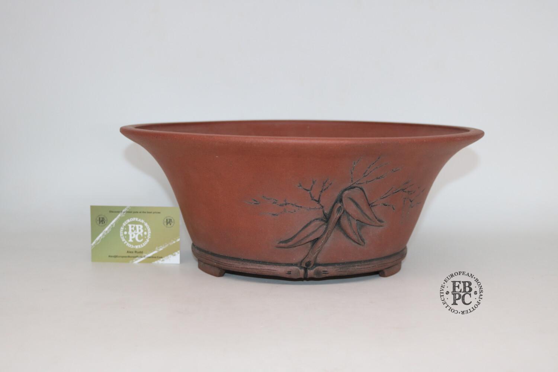 Stone Monkey Ceramics - 34cm; Unglazed; Larger Semi-cascade; Superb Carving Detail; Bamboo Motif; Andrew Pearson.