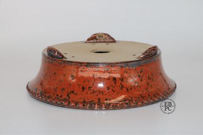 Ian Baillie - 17.2cm; Glazed; Round; Stunning Glaze; Red Crystals, Rivets / Studs.