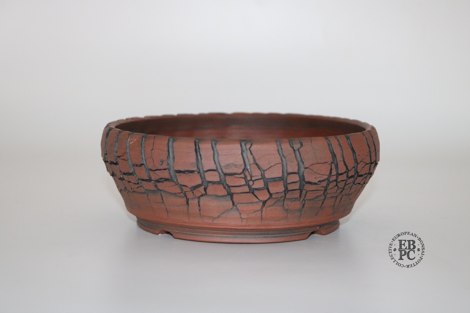 SOLD - Paul Rogers Ceramics - 16.5cm; Unglazed; Round; Deep Crackle Finish; Browns; EBPC Stamped;
