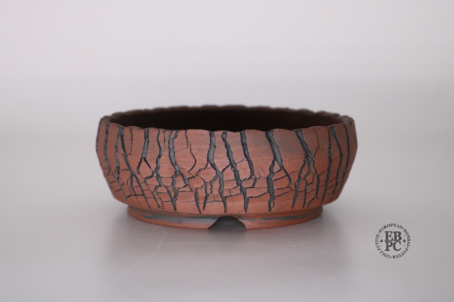SOLD - Paul Rogers Ceramics - 13.2cm; Unglazed; Round; Wide Crackle Finish; Browns; EBPC Stamped;