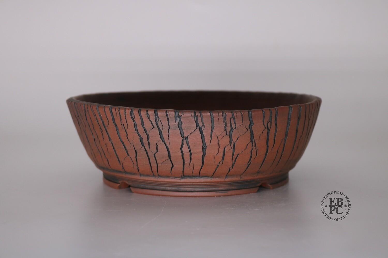 SOLD - Paul Rogers Ceramics - 19.2cm; Unglazed; Round; Crackle Finish; Browns; EBPC Stamped;