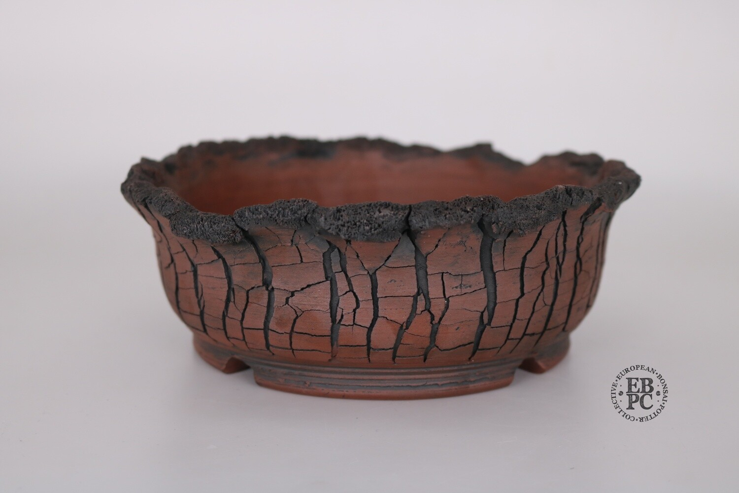 SOLD - Paul Rogers Ceramics - 19.6cm; Unglazed; Round; Crackle Finish; Decaying Lip Detail; Browns; EBPC Stamped;
