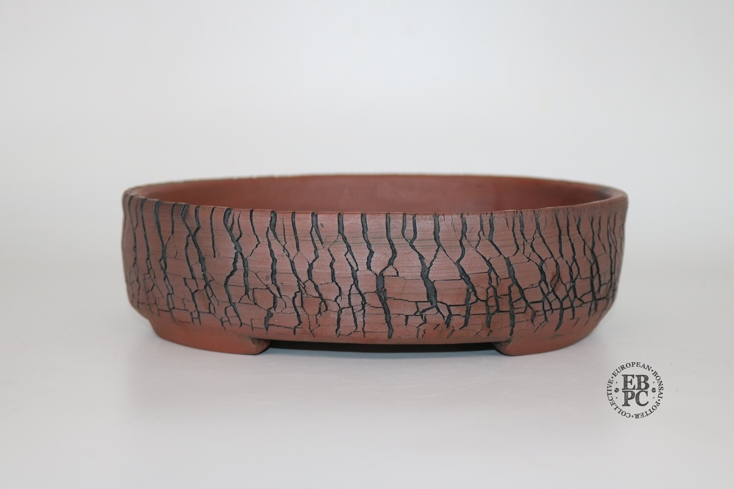 Paul Rogers Ceramics - 22.7cm; Unglazed; Oval; Crackle Finish; Browns; EBPC Stamped;