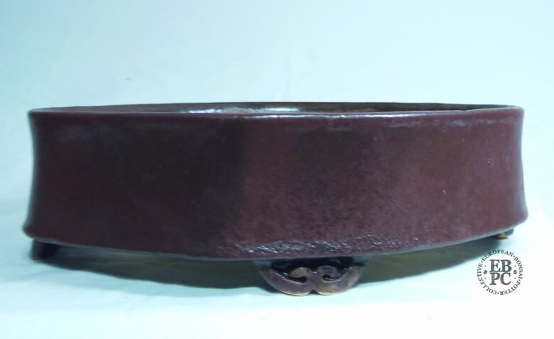 Miroslav Znamenáček - 28.8cm; Glazed; Rhombus Shape; Soft Corners; Purple; Brown; Reds; Yellows; Delicate Carved Feet.