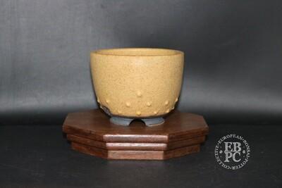 Stone Monkey Ceramics - 11.1cm; Dappled Cream Glaze; Shohin; Round; Studded Design; Andrew Pearson