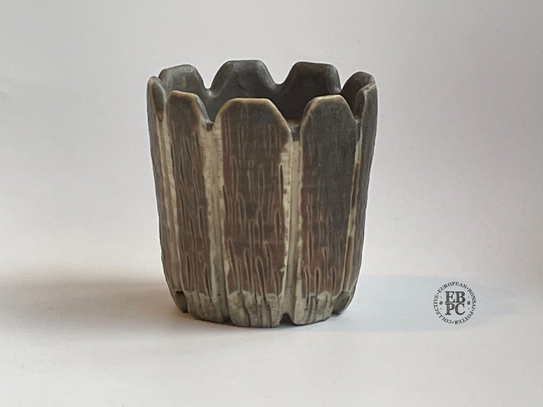 EBL Pots - 6cm Tall; Porcelain; Shohin / Accent pot; Great Design; Carved; Round; Browns; Elsebeth Ludwigsen