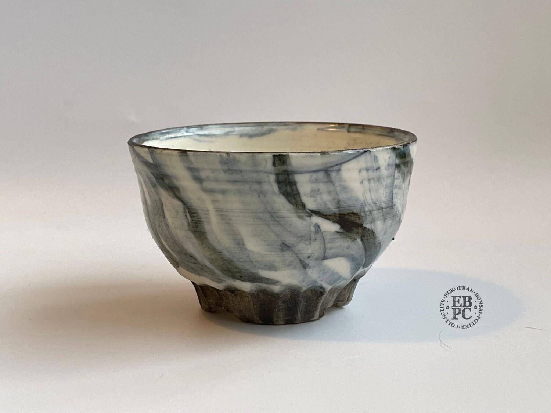 EBL Pots - 8cm; Porcelain; Mame / Shohin / Accent Pot; Round; Celadon; Light & Dark Blues; Carved Foot Ring; Elsebeth Ludvigsen
