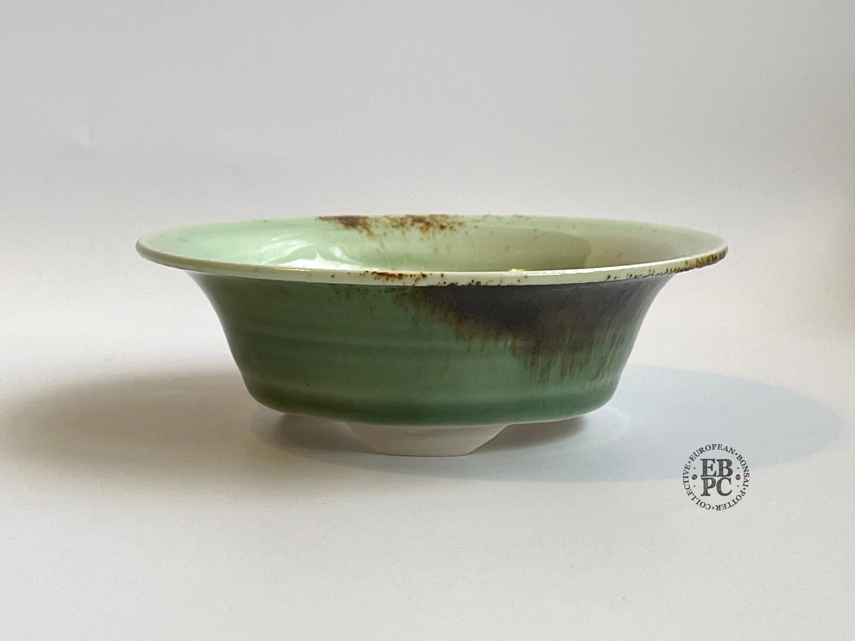 EBL Pots - 11.4cm; Porcelain; Shohin / Accent Pot; Round; Celadon; Green; Crackle Glaze; Volcanic Sand; Elsebeth Ludvigsen