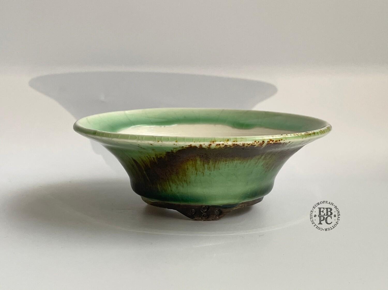EBL Pots - 12.5cm; Porcelain; Shohin / Accent Pot; Round; Celadon; Green; Volcanic Sand; Elsebeth Ludwigsen