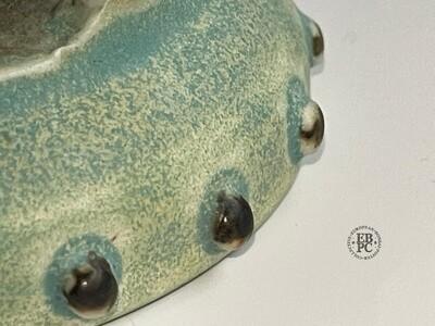 EBL Pots - 9.2cm; Porcelain; Shohin / Accent pot; Round; Studded Design; Superb Green Glaze; Elsebeth Ludwigsen