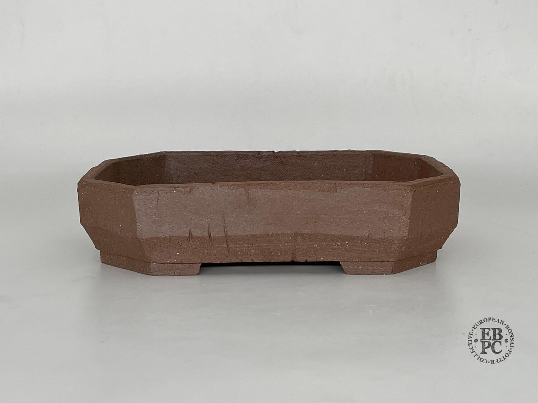 Dragonfly Bonsai Pots.  23.1cm; Slab-Built; Octagon / Rectangle; Brutalist Design; Unique - One Off; Carved Angles ;