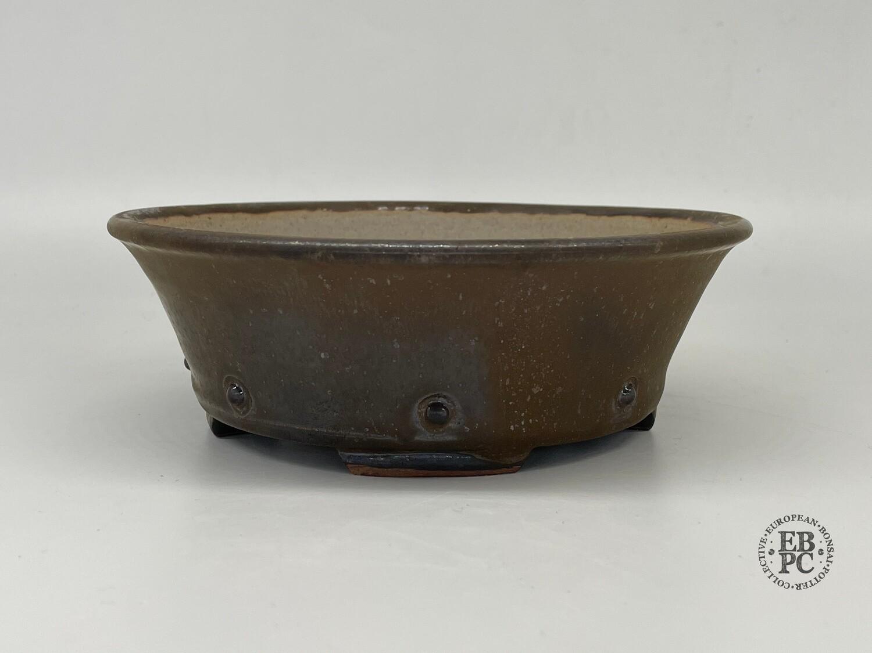 Dragonfly Bonsai Pots.  18.5cm; Glazed; 'Metallic Bronze Glaze; Round; Semi-Cascade; Studs/Rivets Details;