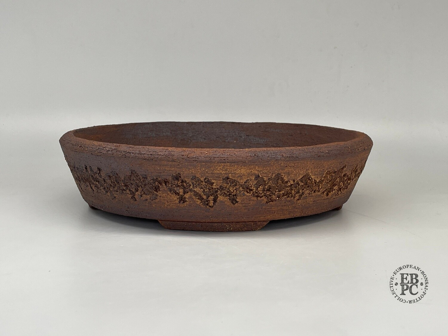 Dragonfly Bonsai Pots- 26.4cm; Unglazed; Round; Nanban; Browns; Greys; Reds; Natural Textures; Aged Finish