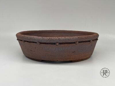 Dragonfly Bonsai Pots.  28.9cm; Unglazed; Round; Inset-Studded; Drum/Nanban Design; Warm Browns; Caramel tones; Natural Textures; Aged finish