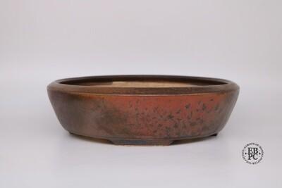 SOLD - Miroslav Znamenacek - 29.4cm; glazed; Round; 'Superb Glaze, Reds, Orange, Browns, Purple