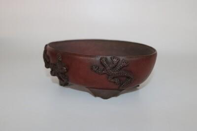 M. J. G. Ceramica - 16cm: Unglazed: Oval; Salamander; Reddish-Brown Clay; EBPC Stamped; Maria Jose Gonzalez