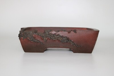 M. J. G. Ceramica - 19cm; Unglazed; Reddish Brown; Mushikui (Bug Eaten) Effect;  Rectangle, Superb Detailing; Maria Jose Gonzalez.