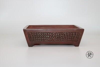 SOLD - M. J. G. Ceramica - 22.3cm; Unglazed; Rectangle; Inset Panel with 'Latticed Weave' Pattern; Reddish-brown Clay Finish; Maria Jose Gonzalez