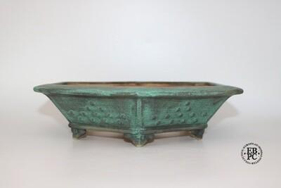Fukurou Ceramics - Switzerland.  29.4cm; Hand-made; Hexagon; Decorated in Formal Pattern of Studs; Basal Band; Incised 'Corners'; Cloud Feet; Glazed; Lichen Green; Darker Green; Patrik Lüthi