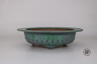 Fukurou Ceramics - Switzerland.  27cm; Hand-made; Round; Superb Glaze; Exaggerated Lip Design; Formal Row of Studs; Cloud Feet; Greens; Grey; Patrik Lüthi