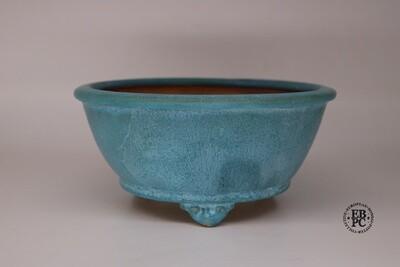 Fukurou Ceramics - Switzerland.  20.4cm; Round; Semi-Cascade; Detailed Feet; Superb Glaze; Opulent Turquoise Blue; Milky Whites; Made by Patrik Lüthi.