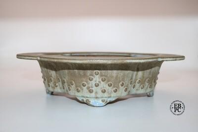Fukurou Ceramics - Switzerland. 29cm; Hand-made; Mokko; Formal Studs Design; Exaggerated Lip to Rim; Delicate Feet; Superb Glaze; Organic Greens; Hints of Baby Blue; EBPC Stamped; Patrik Lüthi