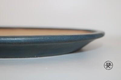 Fukurou Ceramics - Switzerland.  32cm; Hand-made; Nanban Style; Foot ring with Arch-cut Feet; Superb Humble Glaze; Mottled Dark Blue; Patrik Lüthi