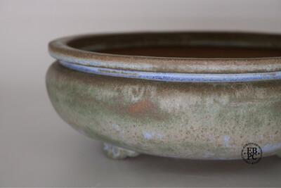 Fukurou Ceramics - Switzerland.  23.5cm; Hand-made; Round; 'Bag-style' Design (Fukuro-shiki) to Lip; Delicate Feet; Superb Glaze; Greens; Browns; Hints of Baby Blue; Patrik Lüthi
