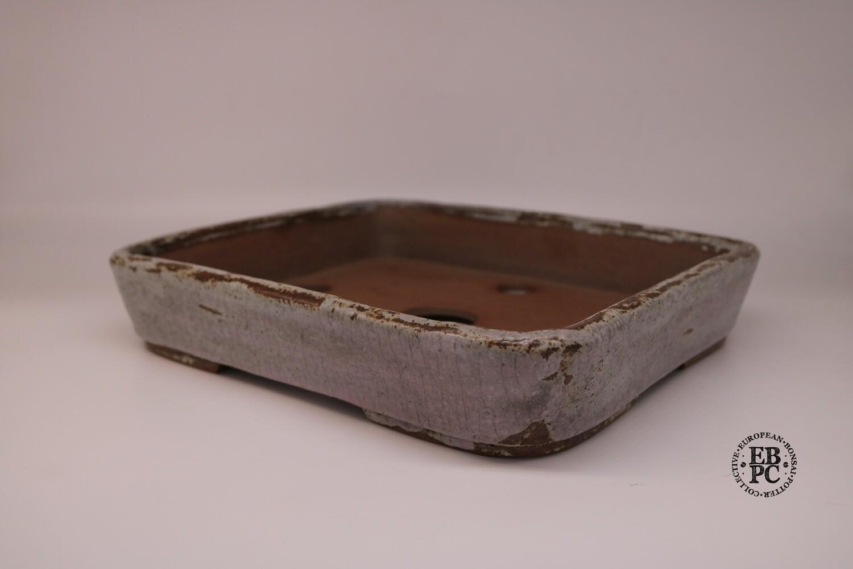 Dragonfly Bonsai Pots- 31.4cm; Rectangle; Crackle Glaze; Cream / Light Grey; Subtle Hints of Pink; Aged Finish; Graham Simpson