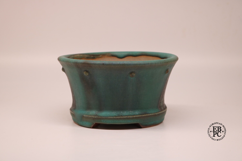 Dragonfly Bonsai Pots.  14.4cm; Round; Semi-Cascade; Studs/Rivets Details; Basal Band; Glazed: Sea Green & Metallic Grey; Graham Simpson