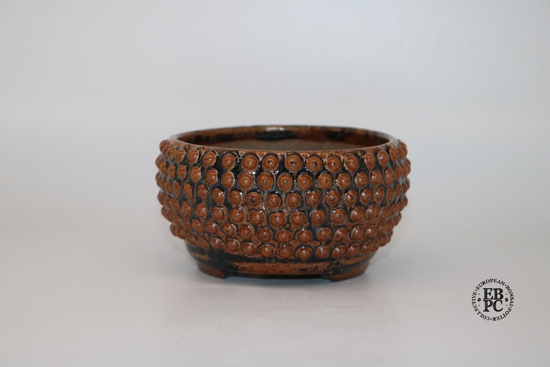 Dragonfly Bonsai Pots. 11.7cm; 'Berry Pot' Design; Glazed; 'Burnt-Orange Glaze; Round; Semi-Cascade/Accent; Studs/Rivets Details; Burnt Orange; Browns; Graham Simpson