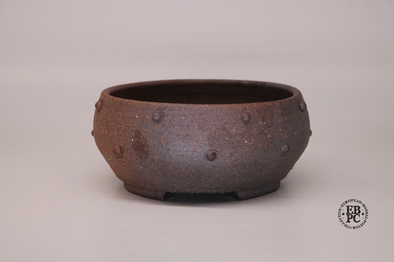 Dragonfly Bonsai Pots.  15.7cm; Unglazed; Round; Great Design;  Studs/Rivets; Dual Tones; Wood-Fired Look; Graham Simpson