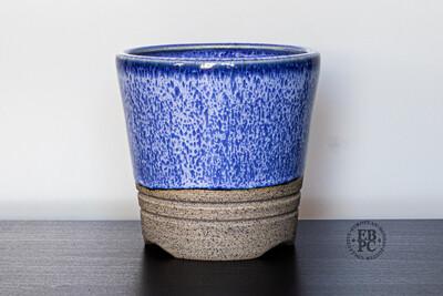 Yaruki Ceramics - Rome.   10.6cm; Round; Cascade; Speckled Slip; Stunning Glaze; Blue; White; Made by Giuseppe Lombardo