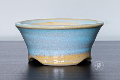 Yaruki Ceramics - Rome.   10cm; Round; White Clay; Delicate design; Almost Translucent Glaze; Sky Blue.; Made by Giuseppe Lombardo