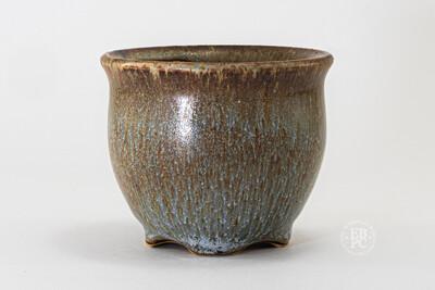 Yaruki Ceramics - Rome.   7.6cm; Round; Cascade; Namako-esque Glaze; Browns; Blues; White; Made by Giuseppe Lombardo.