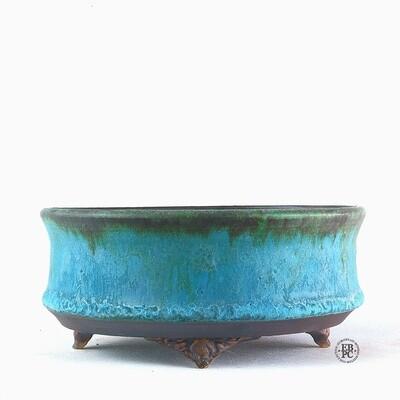 Kingdom Bonsai Pots - Ireland.  14cm; Round; Delicate Carved Feet; Exquisite Glaze; Blues; Greens; Browns; EBPC Stamped; Enda Coyne