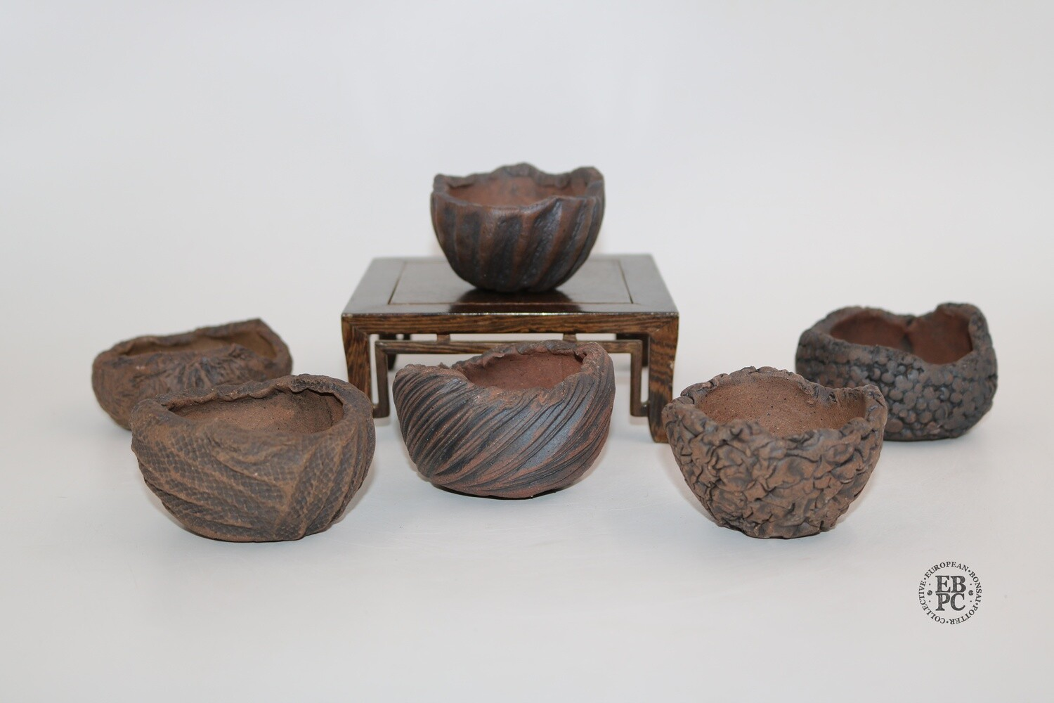 Walsall Studio Ceramics - 6cm to 8cm; Accent / Mame; Round; Unglazed; Brown; Fantastic patterns; EBPC Stamped