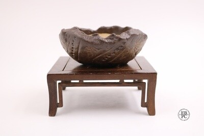 Walsall Studio Ceramics - 11.3cm; Round; Glazed; Patterened Texture; Browns; Made by Esther Griffiths.