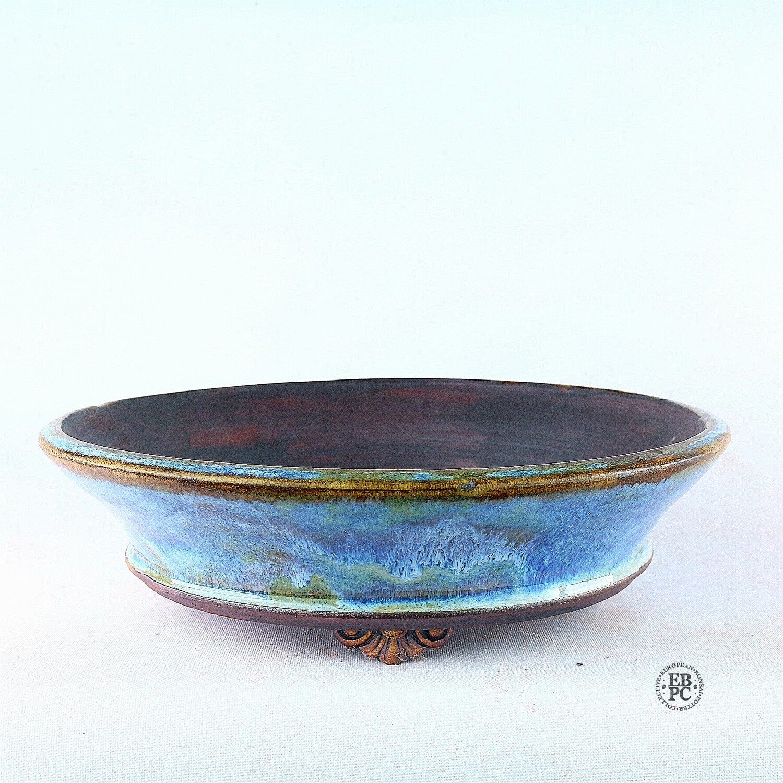 Kingdom Bonsai Pots - Ireland.  19.1cm; Round; Delicate Carved Feet; Superb Glaze; Blues; White; Greens; Purple; EBPC Stamped; Enda Coyne