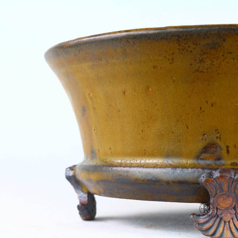 Kingdom Bonsai Pots - Ireland.  15.9cm; Round; Semi-Cascade; Banding in Relief; Carved Feet; Superb Glaze; Caramel; Browns; EBPC Stamped; Enda Coyne