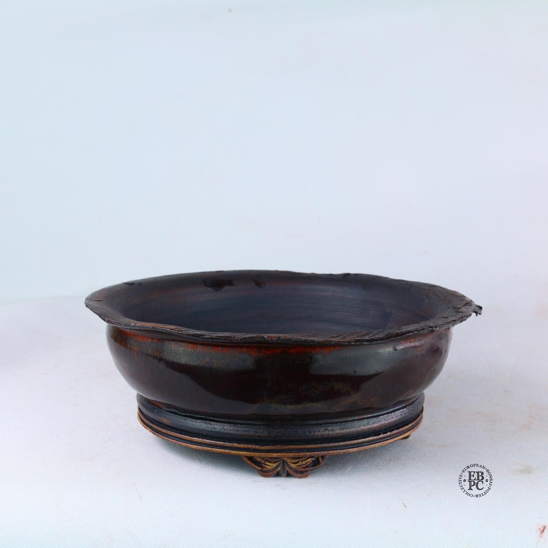 Kingdom Bonsai Pots - Ireland.  15.2cm; Round;  Banding in Relief; Carved Feet; Superb Glaze; Almost Black; Reds; EBPC Stamped; Enda Coyne