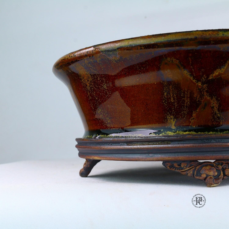 Kingdom Bonsai Pots - Ireland.  20.3cm; Formal Round; Carved Feet; Superb Glaze; Running Red; EBPC Stamped; Enda Coyne