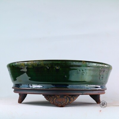 Kingdom Bonsai Pots - Ireland.  21.6cm; Formal Round; Carved Feet; Superb Glaze; Translucent Dark Green; EBPC Stamped; Enda Coyne