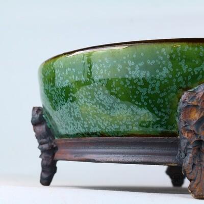 Kingdom Bonsai Pots - Ireland.  21.6cm; Formal Round; Imposing Carved Feet; Superb Glaze; Translucent Green; EBPC Stamped; Enda Coyne